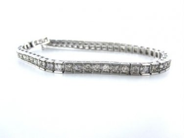 DIAMOND TENNIS 14K WHITE GOLD BRACELET COGNAC COLOR 54 DIAMONDS 2.70 CARAT FINE