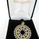 18KT YELLOW white GOLD PENDANT BEADED FLOWER OF LIFE STAR INSIDE A CIRCLE ITALY