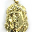 10KT YELLOW GOLD PENDANT JESUS HEAD CATHOLIC CHRIST CHRISTIAN WHITE STONES CROWN