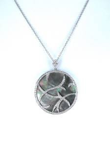 14KT KARAT WHITE GOLD PENDANT CHARM MOTHER PEARL DIAMOND 9.3DWT FINE JEWELRY