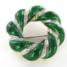 18K KARAT SOLID GOLD PIN BROOCH DIAMOND GREEN ENAMEL VINTAGE WREATH CHRISTMAS