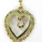 14KT YELLOW SOLID GOLD HEART PENDANT VALENTINES DIAMOND LOVE 2.4 GRAMS JEWELRY