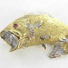 14KT KARAT YELLOW GOLD PENDANT 7.7 DWT FISH FISHING RUBY WIDE MOUTH MARINE AJ