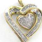10KT SOLID YELLOW GOLD PENDANT 1.7DWT HEART DANGLING 175 DIAMOND PENDANT JEWELRY