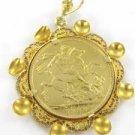 22K GOLD COIN 18K KARAT SOLID GOLD FRAME 1900 QUEEN VICTORIA BRITAIN SOVEREIGN