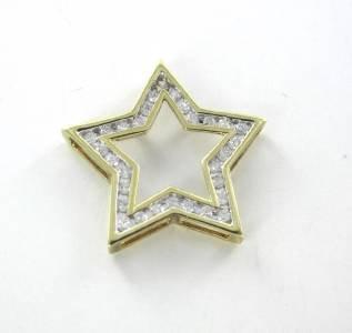 10KT SOLID YELLOW GOLD CHARM PENDANT 31 DIAMOND STAR 1.2 GRAMS FINE JEWELRY
