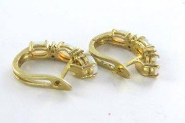 14KT SOLID YELLOW GOLD EARRINGS OPAL 8 DIAMOND HOOP OPALS 4.8 GRAMS FINE JEWELRY