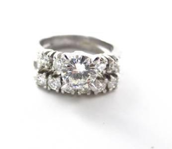 WEDDING RING BAND 11 DIAMOND 14KT SOLID KARAT WHITE GOLD ENGAGEMENT 4.8 GRAMS