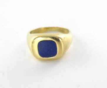 18K KARAT SOLID YELLOW GOLD RING LAPIS LAZULI SZ 10 MAYORS HALLMARK MEN JEWELRY