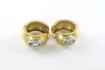 14KT SOLID YELLOW GOLD BLUE TOPAZ EARRINGS 4.6 GRAMS HALLMARK FINE JEWELRY WOMAN