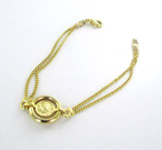 14KT YELLOW GOLD SOLID DOUBLE CHAIN MERCURY GREEK COIN DESIGN MADE IN ITALY