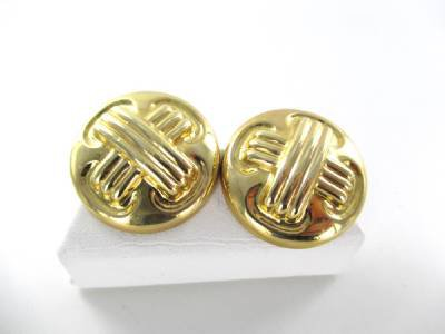 14KT YELLOW GOLD EARRINGS BUTTON HALLMARK CIG CROSS DESIGNER X DESIGN JEWELRY