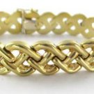 14KT SOLID YELLOW GOLD BRACELET WEAVE DESIGN LINK ITALY 19.1 GRAMS FINE JEWELRY
