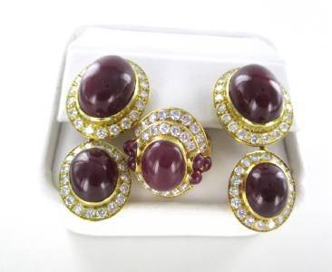 18K KARAT YELLOW GOLD SET EARRINGS + RING DIAMOND 8 CARAT RUBIES RUBY FINE JEWEL