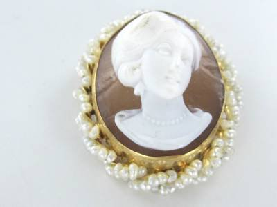 14KT KARAT SOLID YELLOW GOLD PIN BROOCH CAMEO LADY PENDANT SEED PEARL VINTAGE