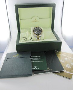 ROLEX WATCH OYSTER PERPETUAL SUBMARINER DATE BLACK GOLD STEEL 116613S MENS