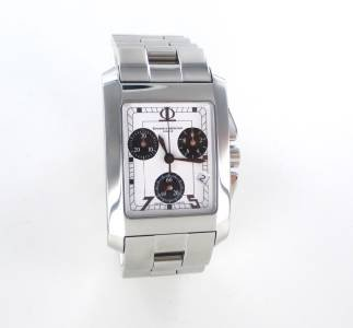 BAUME & MERCIER WATCH STAINLESS STEEL GENEVE HAMPTON CHRONOGRAPH WHITE DIAL MEN