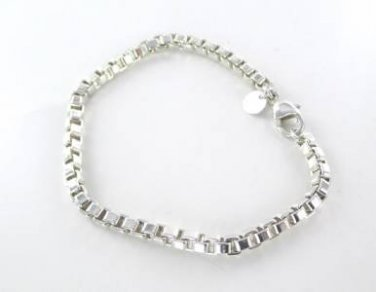 "TIFFANY & CO VENETIAN BOX LINK BRACELET 7.5"" STERLING SILVER .925 AUTHENTIC"