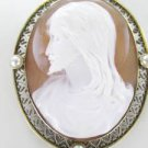 14KT SOLID YELLOW GOLD CAMEO PIN BROOCH JESUS VINTAGE COLLECTIBLE RELIGIOUS 13GR