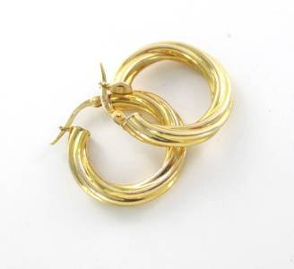 14KT KARAT YELLOW GOLD EARRINGS HOOP TWISTED 1.8 GRAMS MILOR ITALIAN ITALY JEWEL
