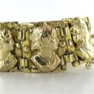 14KT YELLOW GOLD BRACELET LADY FACE LINK VINTAGE 72.6 GRAMS ENGRAVED CAMEO SOLID