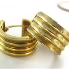 14KT YELLOW GOLD EARRINGS RIBBED HUGGIES HOOP 3.7 GRAMS MADE ITALY MOTHERS DAY
