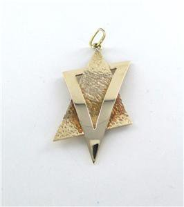 14K SOLID YELLOW GOLD PENDANT STAR OF DAVID HAMMERED DESIGN 13 GRAMS JEWISH JEW
