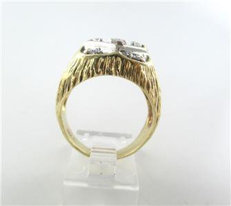 14KT SOLID YELLOW GOLD RING 9 DIAMONDS 1 CARAT 12.1 GRAMS SZ 10.5 MEN JEWELRY