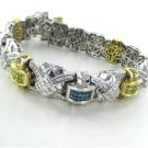 14K SOLID WHITE GOLD BRACELET MULTI COLORED 576 DIAMOND 12.50 CARAT MEN JEWELRY