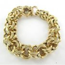 14KT SOLID YELLOW GOLD BRACELET DOUBLE LINK 62.9 GRAMS HEART FINE JEWELRY BANGLE