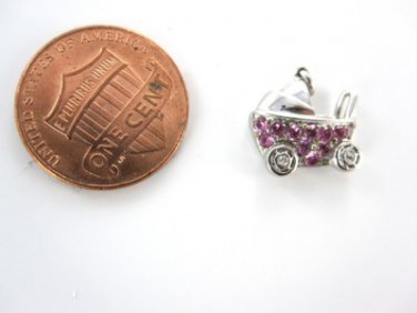 14KT WHITE GOLD PENDANT BABY CARRIAGE NEWBORN MOTHER PINK SAPPHIRE  2 DIAMOND