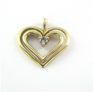 10K SOLID YELLOW GOLD PENDANT HEART CHARM 1 DIAMONDS .10 CARAT 1.3 GRAMS LOVE