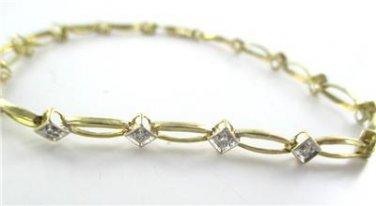 10KT SOLID YELLOW BRACELET BANGLE 10 DIAMOND .20 CARAT 3.4 GRAMS NO SCRAP JEWEL