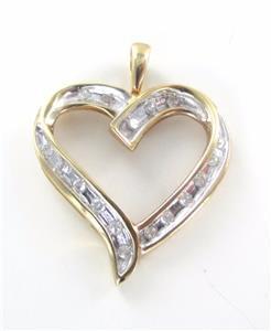 10K SOLID YELLOW GOLD PENDANT HEART LOVE VALENTINES 17 DIAMONDS .34 CT NO SCRAP