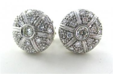14K WHITE GOLD EARRINGS 38 GENUINE DIAMONDS 1.25 CARAT 11.3 GRAMS NO SCRAP FINE