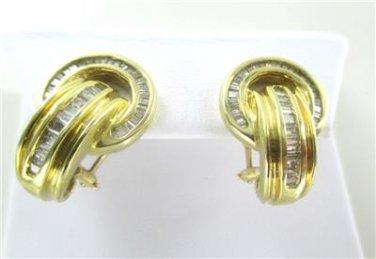 14K YELLOW GOLD EARRING 80 DIAMONDS 1.50 CARAT CT NO SCRAP 9.0 GRAMS FINE JEWEL