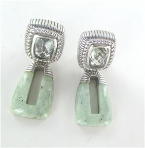 JUDITH RIPKA RIBBED CARVED STERLING SILVER JASPER EARRINGS STONE THAILAND FINE
