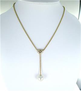 CHOPARD 18KT YELLOW GOLD NECKLACE 13 DIAMONDS 0.52 CARAT PEARL 750 FINE JEWELRY