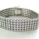 14KT WHITE GOLD BRACELET 110 DIAMONDS 3.30 CARAT FINE JEWELRY 67.1 GRAMS BANGLE