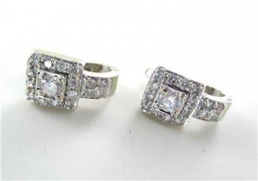 14KT WHITE GOLD EARRINGS FINE JEWELRY 34 DIAMONDS 1 CARAT 4.5 GRAMS TRA DESIGNER