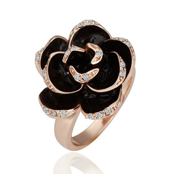 18KGP R089 Black Rose 18K Gold Plated Ring Health Jewelry Nickel Free Ring size 6/7/8
