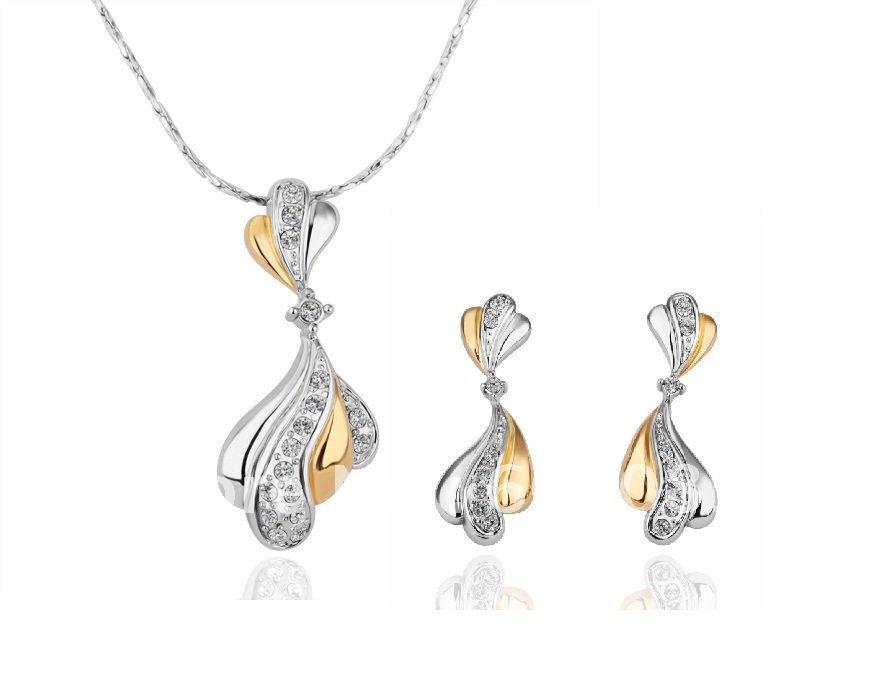 18KS057 18K Gold Plated Jewelry Set Nickel Free Plating Platinum Rhinestone