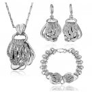 18KS038 K Gold Plated Health Jewelry Sets Nickel Free Plating Platinum Rhinestone