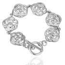 18KGP B024 Flower 18K plated,plating platinum Bracelet,nickel free,Rhinestone,zicon,crystal