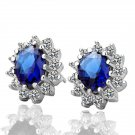 18KGP E027 Blue-Crystal Freeshipping, 18K Platinum plated earrings, Fashion jewelry, nickel free,