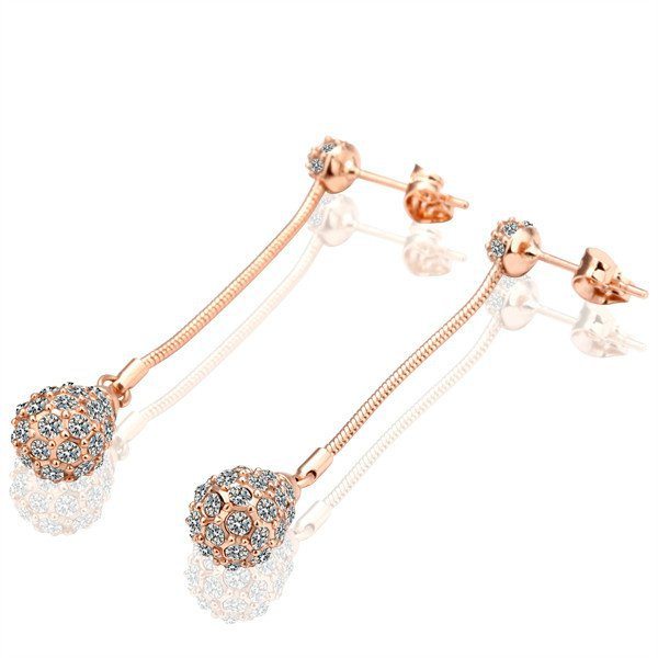 18KGP E010 18K gold plated ball earrings, nickel free, plating platinum, Rhinestone