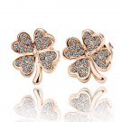 18KGP E001 Four-leaf Clover Freeshipping, Copper with 18K gold plated earrings, nickel free