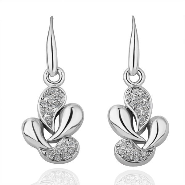 18KGP E098 Copper with 18K Platinum plated earrings, nickel free, plating platinum, Rhinestone