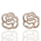 18KGP E044 Flower Stud Earrng 18K gold plated earrings nickel free plating platinum Rhinestone