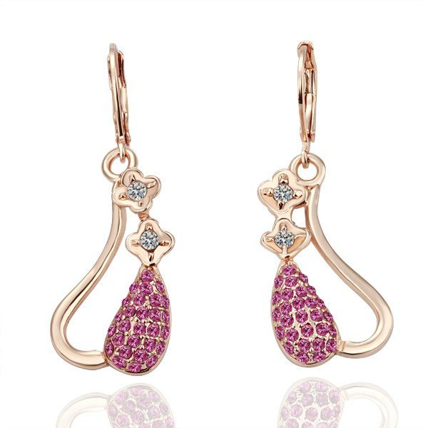 18KGP E038 Copper with 18K gold plated earrings, nickel free, plating platinum, Rhinestone